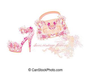 beau, sacs, floral, chaussures, femme