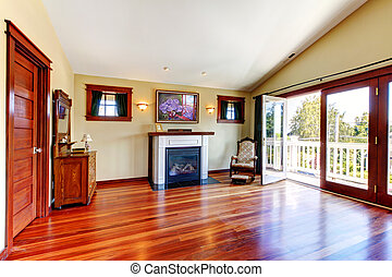 beau, salle, plancher, bois dur, fireplace., chery