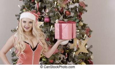 beau, sapin, cadeau, moderne, poser, blond, noël, studio.