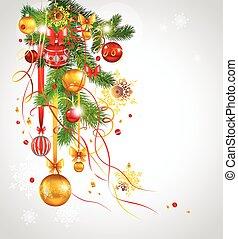 beau, sapin, décoré, arbre, noël