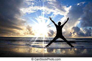 beau, sauter, heureux, plage, levers de soleil, homme