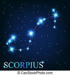 beau, scorpius, étoiles, ciel, cosmique, signe, clair, vecteur, fond, zodiaque