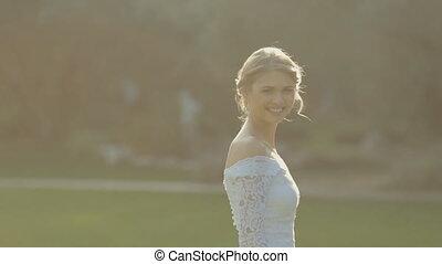 beau, sien, elle, palefrenier, mariée, entourer, vient