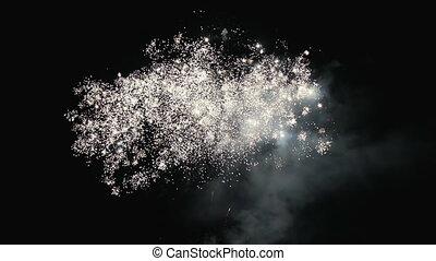 beau, sky., feux artifice, nuit, celebratory, salut