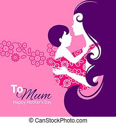 beau, sling., silhouette, illustration, bébé, mère, floral