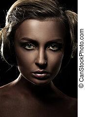 beau, sombre, girl, portrait