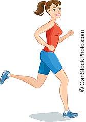 beau, sourire, illustration., dessin animé, courant, vecteur, woman., jogging, girl