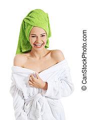 beau, spa, femme, bathrobe.