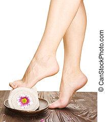 beau, spa, femme, concept, legs.