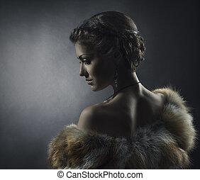 beau, style, femme, fourrure, beauté, vendange, renard, manteau, luxe, girl, retro