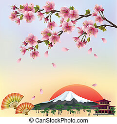 beau, style, fond, fleur, cerise, -, japonaise, illustration, vecteur, sakura, vector., arbre., paysage