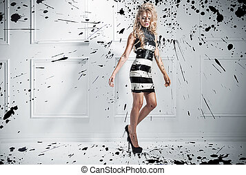 beau, style, mode, photo, femme, blonds