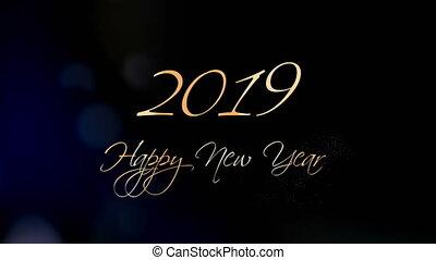 beau, texte, salutation, animation, année, nouveau, 2019., heureux