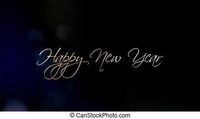 beau, texte, salutation, animation, année, nouveau, heureux