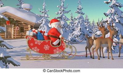 beau, texte, va, noël, renne, maison, boîte, vert, lumières, lapland., ainsi, animation, claus, n'importe où, santa, whenever, vous, nord, manière, 3d, joyeux, ajouter, il