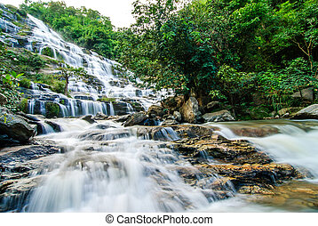 beau, thaïlande, chute eau