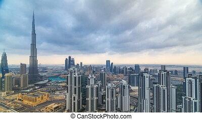 beau, timelapse, dubai, uni, panoramique, skyscrapers., arabe, célèbre, horizon, emirates., affichage mondial