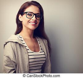 beau, toothy, femme, vendange, jeune, noir, portrait, smile., lunettes