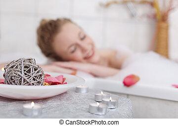 beau, trempage, femme, bain moussant