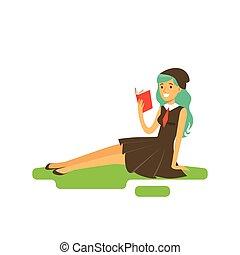 beau, turquoise, vecteur, femme, séance, herbe, jeune, illustration, cheveux, livre, long, lecture étudiant