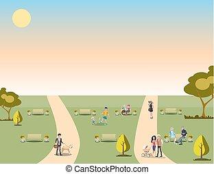 beau, urbain, délassant, gens, nature, parc
