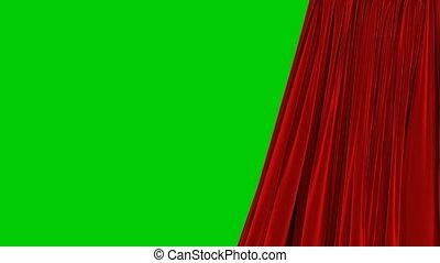 beau, utile, résumé, closing., unique, animation, rideau, rouges, 3d, révéler, uhd, ouverture, écran, onduler, fond, alpha, masque, transitions., réaliste, vert, 4k, vent