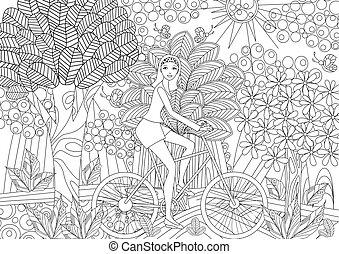 beau, vélo, colori, fantaisie, forêt, équitation, girl