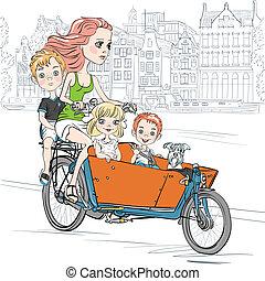 beau, vecteur, porte, vélo, enfant, amsterdam, girl