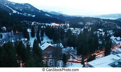 beau, village, montagne