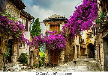 beau, ville, art, vieux, provence