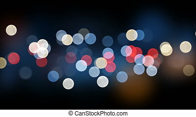 beau, ville, fait boucle, coloré, seamless., nuit, dof, bokeh, clignotant, lumières, blur., animation, 4k, 3840x2160, toile de fond, ultra, hd, 3d