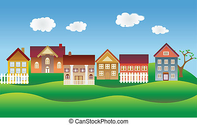 beau, voisinage, ou, village