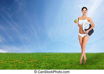 beau, woman., jeune, fitness