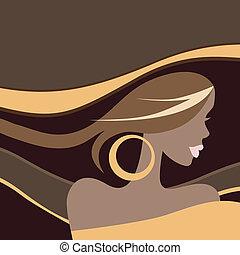 beau, woman., vecteur, illustration.