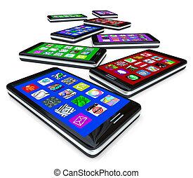 beaucoup, apps, écrans, téléphones, toucher, intelligent
