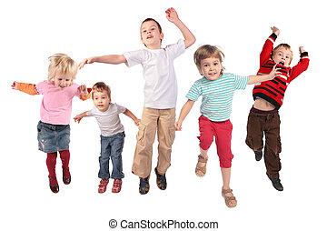 beaucoup, blanc, sauter, enfants