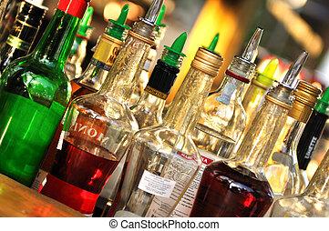 beaucoup, bouteilles, alcool