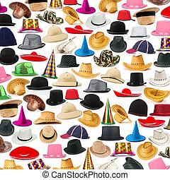 beaucoup, chapeaux, arrangé, fond