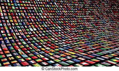 beaucoup, drapeaux, nations., animé, vidéo, 4k, loop-able, mur