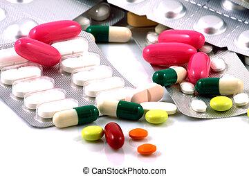 beaucoup, ensemble, formes, groupé, couleurs, pilules