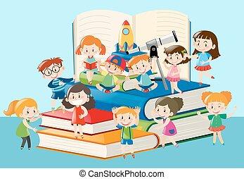 beaucoup, gosses, livres, grand, séance