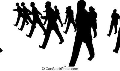 beaucoup, homme affaires, marcher