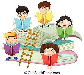 beaucoup, lecture, livres, enfants