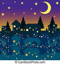 beaucoup, scène nuit, maisons
