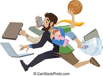 beaucoup, super, occupé, dessin animé, homme, multitask, père, travaux