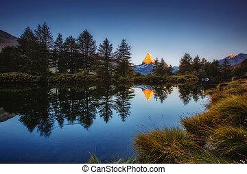 beauté, alpes, matterhorn., europe., endroit, grand, world., panorama, célèbre, emplacement, pic, suisse, grindjisee