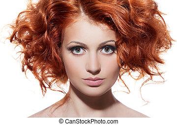 beauté, cheveux bouclés, portrait., fond, blanc