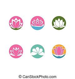 beauté, ensemble, lotus, conception, vecteur, logo, fleurs