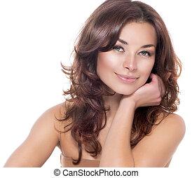 beauté, portrait., clair, skin., frais, skincare