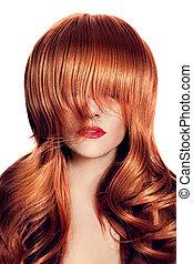 beauté, portrait., hair., sain, long